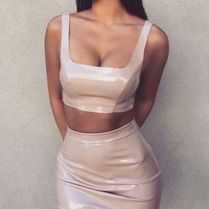 BRAND NEW Meshki Everly Nude Latex Crop Top